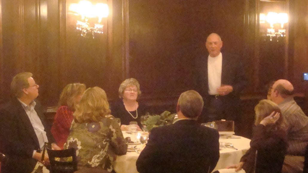 Jim Reed of Reed Wells Benson and Company speaking at his retirement party