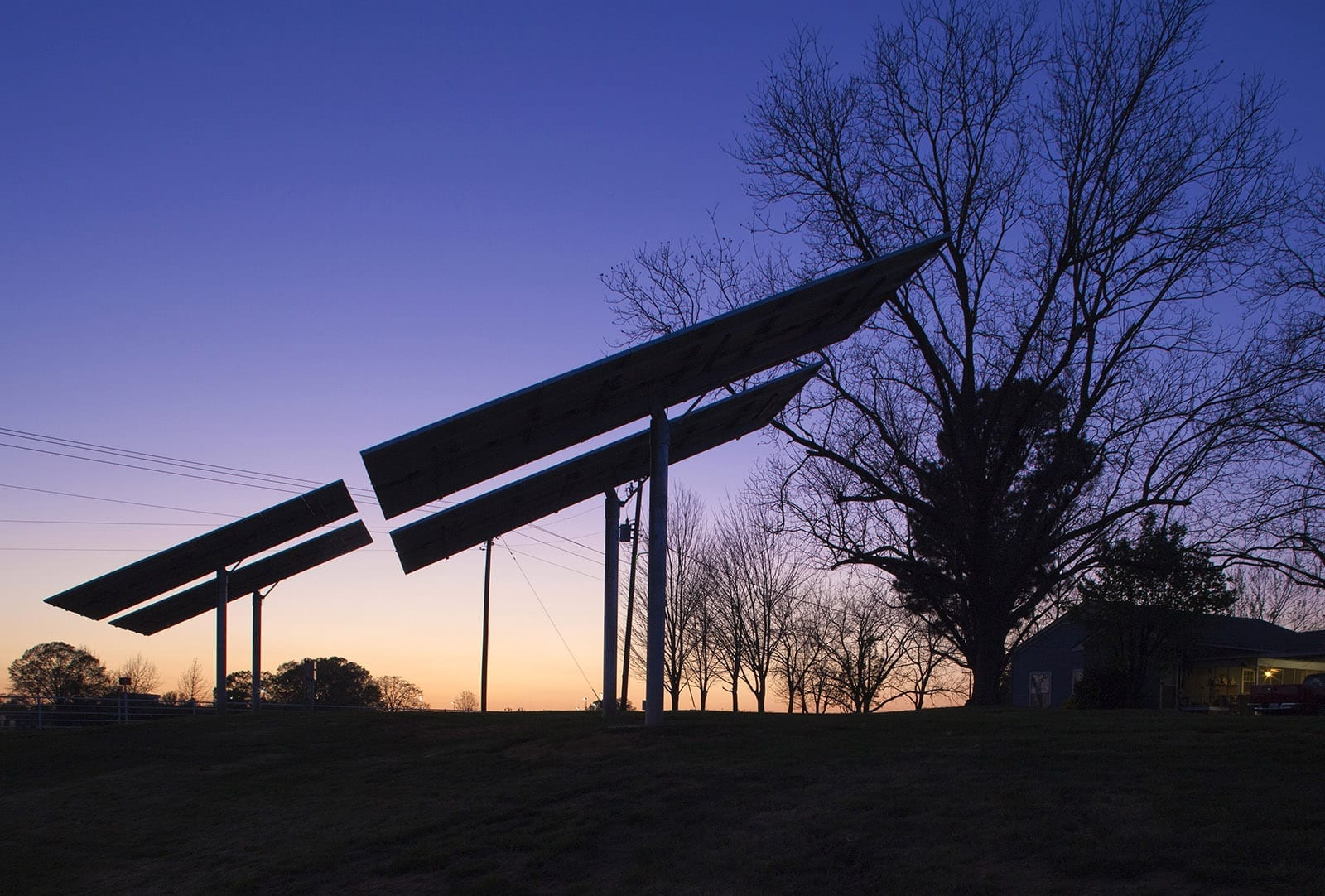 Night Shot of Solar Panels at NTCC